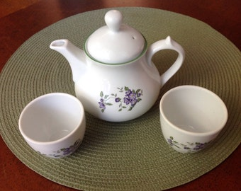 Child's Porcelain Tea Set, Small Tea Set, Lavender Floral Tea Set,Porcelain Tea Set