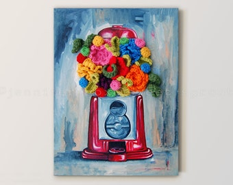 "Vintage Gumball Machine CROCHET + PAINTING on CANVAS 12"" x 16"" Holding Colorful Flowers in Place of Gumballs"