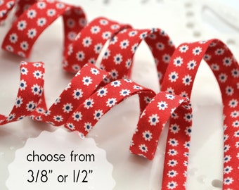 "tiny white flowers on red - double fold, bias tape - 3 yards, CHOOSE 3/8"" or 1/2"" wide"