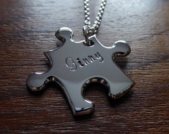 Personalised Silver Puzzle Pendant Necklace 4