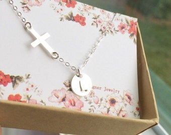 Personalized Sterling Silver Sideways Cross and Initial Necklace / Initial Necklace /Personalized Gift / Holiday Gift / Everyday Jewelry