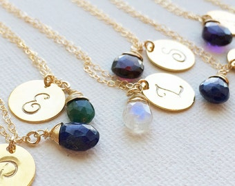Personalized Gift - Dainty Birthstone Initial Necklace -  Birthstone Initial Necklace - Personalized Initial Gemstone Necklace