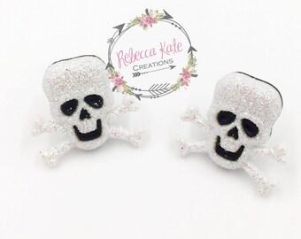 Sparkly Skull Post Earrings/Halloween Earrings/Nickel Free