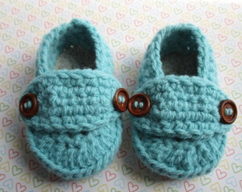 Crochet baby loafer shoe, knit baby shoe, aqua & grey baby booties, crib shoe,baby gift,ready to ship, 3-6 month, uk seller.