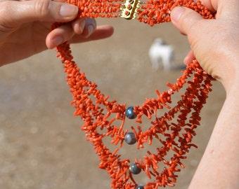 4 strands vintage coral with fancy vintage clasp, designer necklace with labradorite accent