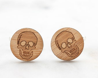 Skull Cufflinks - Pirates Cufflinks - Wood Cufflinks - Wedding Cufflinks - 5 Year Anniversary Gift for Men