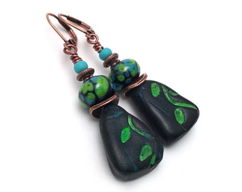 Turquoise and Green Leaves Earrings - Handmade Artisan Earrings - Black Lampwork Glass Earrings - Polymer Clay Leaf Earrings - SRAJD 3955