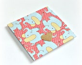 baby elephant blank handmade mini note cards, trifold mini cards, set of 8 envelope style note cards, thank you notes, to and from gift card