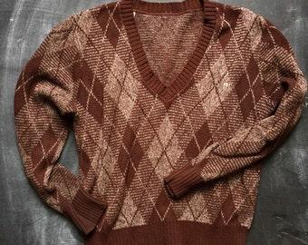 Vintage Etienne Aigner Argyle Oxblood sweater