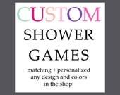 Matching Party Games Baby Shower Printable Activity Made to Match Custom Bingo Price Right Scramble Wishes Advice Celeb Match Handbag Hunt