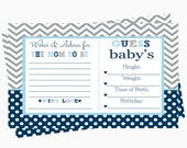 Bow Tie Advice and Statistics Baby Shower Game Printable  Boys Predictions Game Navy Polka Dot Advice for Mom Grey Chevron  Activity