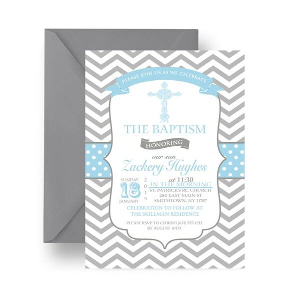 Blue Baptism Invitation Religious Celebration Announcement Printable or Printed Blue and Grey Chevron Invites Personalized (BBGCHEVI)