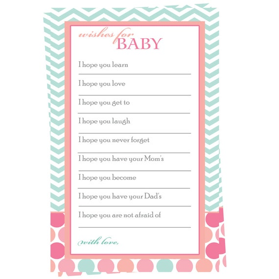 Coral Wishes For Baby Girl Printable Instant By