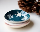 Modern Ceramic Candle Holder Ring Dish Snowflakes - Blue Christmas Green Christmas Handmade Ceramics by RossLab