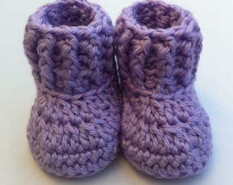 Crochet Booties Newborn Shoes Baby Girl Booties Winyer Boots Knit Shoes Newborn Girl Accessories Purple 0-3 Month Baby Girl Shower Gift Idea
