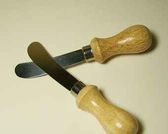 2 STAINLESS STEEL SPREADERS - Wood Handles - Made In Taiwan - For Soft Cheese or Pate'