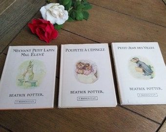 3 Breatrix Potter Hardcover Miniature Books in French