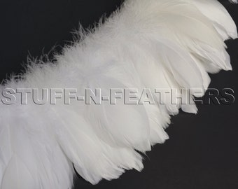 Wholesale / bulk feathers - White / Off white goose nagoire feathers strung for millinery, weddings, craft, costumes / 1 ft / 30.5cm /FB87-3
