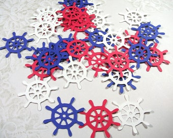Ships Wheel die cuts, Confetti, Scrapbook Embellishments, Patriotic, Cupcake toppers, White & Blue