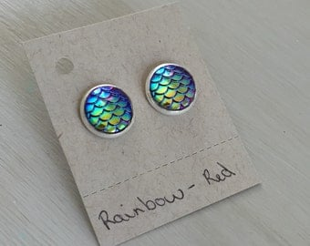 Rainbow- red mermaid scale earrings