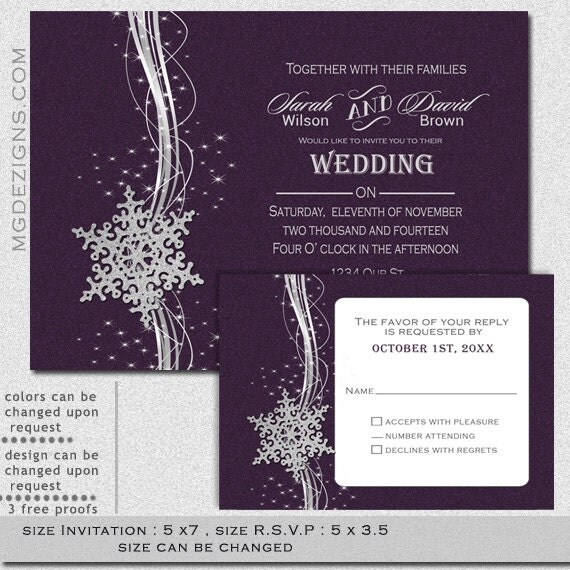 Silver And Purple Blank Invitations: Items Similar To PRINTABLE Purple Silver Winter Wedding