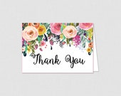 Printable Floral Bridal Shower Thank You Card - Bridal Shower Thank You Card - Floral Bridal Shower - White Floral 0001W