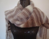 Women's Winter Scarf Knit.Scarf Beige Brown Cream Variegated Colors Fringed Long Knit Scarf