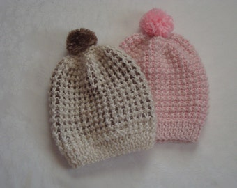 Winter Toddlers Hats. Knit Alpaca Hats.Pink, BrownWinter Boy's Girl's Pom Hats.Toddlers Hats.Warm,soft. Gifts for Boys Girls