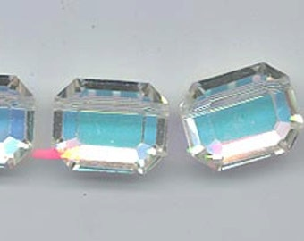 Eight vintage Swarovski crystal beads - Art. 5106/367 - 15 x 12 mm - crystal AB