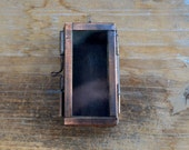 Rectangle Glass Door  Shadow Box Locket Pendant Charm Antique Bronze Vintage style  (BD033)