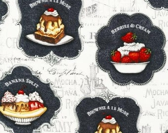 Robert Kaufman - Salon De Cream Glacee - Vanilla - Novelty Fabric-Choose Your Cut 1/2 or Full Yard