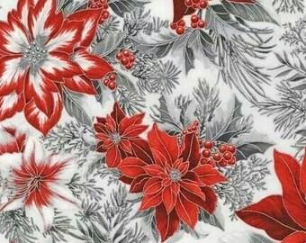 Robert Kaufman - Holiday Flourish - Metallic Poinsettia - Silver - Holiday Fabric-Choose Your Cut 1/2 or Full Yard