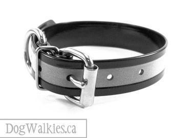 "Shiny Jet Black Reflective 1"" (25mm) Biothane Dog Collar - Adjustable Buckle Custom Size - 25mm Wide"