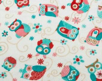 BTHY Adornit Owls All Around Cuddle Coral Minky Owl Fabric Yardage by Shannon Fabric