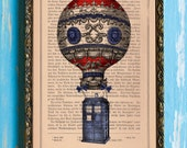 Doctor Who Hot Air Ballon Original Print on Unframed Upcycled Bookpaper