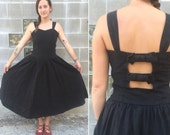 90s black linen bow-back dress w/ drop waist