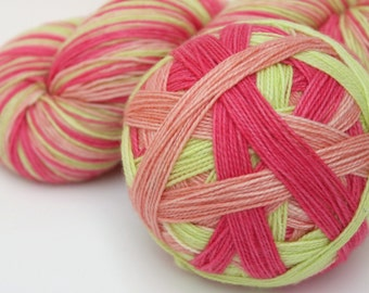 "Self Striping Sock Yarn, Superwash Merino and Nylon Fingering Weight, in ""Ripe Melons"""