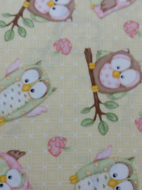 Pink Owl Quilt Fabric by the yard by ohSEWcuddly on Etsy