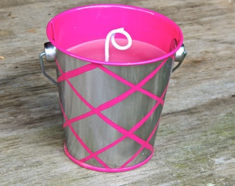 Bucket Candle, Scented Candle, Soy Candle, Large Candle, Candle in a pail, Pail Candles, Highly Scented, Pink Sugar