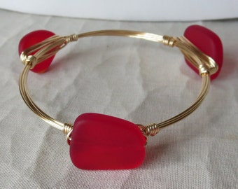 "Red Sea Glass Bangle Bracelet ""Bourbon and Bowties"" Inspired"