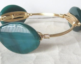 """Premium Quality Green Agate Stone Bangle Bracelet """"Bourbon and Bowties"""" Inspired"""
