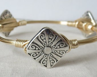 "SIlver and Gold Bangle Bracelet  ""Bourbon and Bowties"" Inspired"