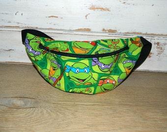 Ninja Turtle Fanny Pack - Teenage Mutant Ninja Turtles Fabric - Novelty Unisex Fanny Pack - Hip Bag -  Children thru Adult Sizes