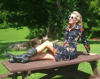 Vintage Black Floral Dress Belted Shirt Dress Longsleeves Boho Bohemian
