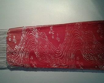 Red swirl silk scarf
