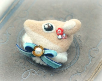 Handmade needle felt deer brooch, jeweled deer brooch, whimsical felt animal brooch, blue bow, lolita accessories, gift under 25