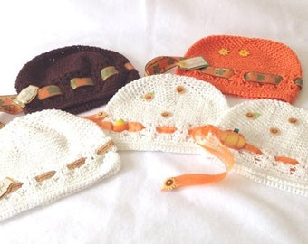 Thanksgiving/Fall Infant Designer Kufi Hat Small Infants, Reborn Doll Hat.....Photo Prop, NurseryWear, Shower Gift,