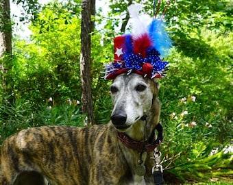 July 4th Dog Top Hat, Party Dog Hat, Pet Hat, Dog Hat, Dog Clothes, Pet Clothes, Handmade Hat, Handmade Dog Hat, Wedding Dog Hat
