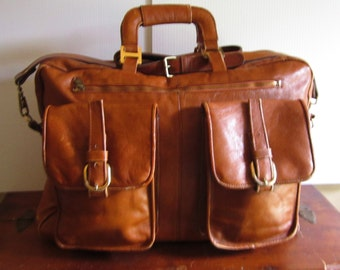 Vintage Leather Luggage or Overnight or Gym Bag