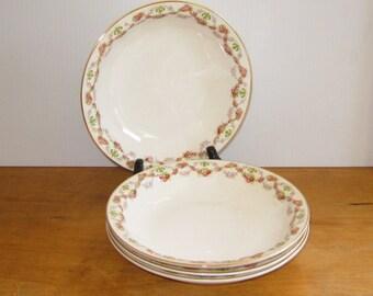 Vintage Edwin Knowles Rose Fleur-de-lis Soup Salad Bowls